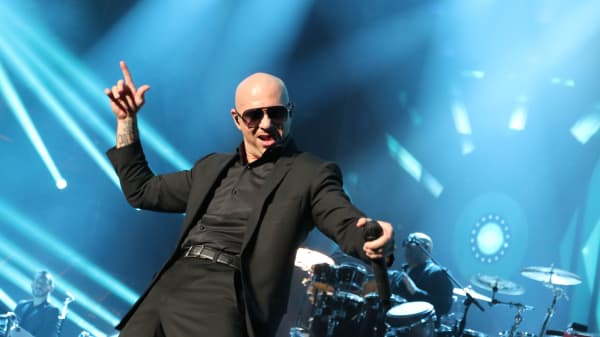 Pitbull performs on stage in Las Vegas.